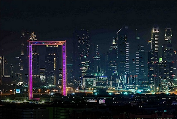 Dubai Frame lights up with different colors